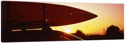 Close-up of a kayak on a car roof at sunset, San Francisco, California, USA Canvas Print #PIM6467