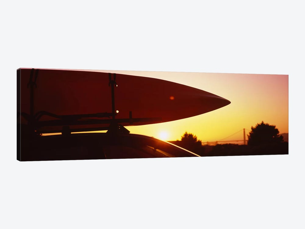 Close-up of a kayak on a car roof at sunset, San Francisco, California, USA by Panoramic Images 1-piece Canvas Art