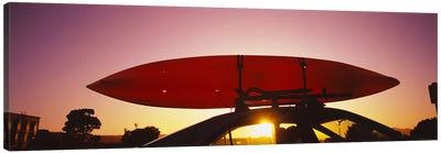 Close-up of a kayak on a car roof at sunset, San Francisco, California, USA #2 Canvas Print #PIM6468
