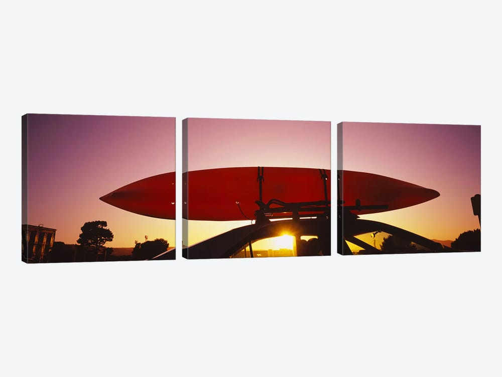 Close-up of a kayak on a car roof at sunset, San Francisco, California, USA #2 by Panoramic Images 3-piece Canvas Art Print