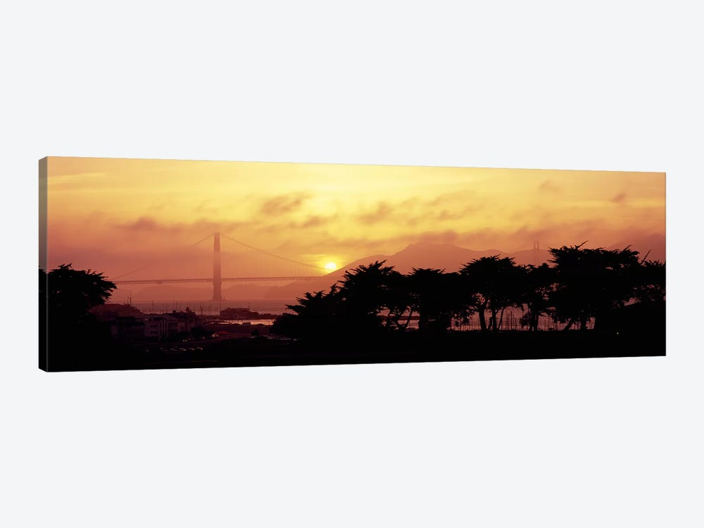 Silhouette of trees at dusk with a bridge in the background, Golden Gate Bridge, San Francisco, California, USA by Panoramic Images 1-piece Canvas Art