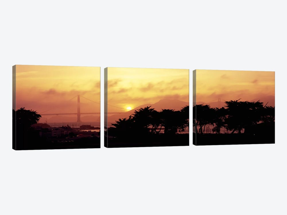 Silhouette of trees at dusk with a bridge in the background, Golden Gate Bridge, San Francisco, California, USA by Panoramic Images 3-piece Canvas Artwork