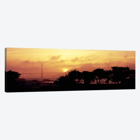 Silhouette of trees at dusk with a bridge in the background, Golden Gate Bridge, San Francisco, California, USA Canvas Print #PIM6469} by Panoramic Images Canvas Wall Art