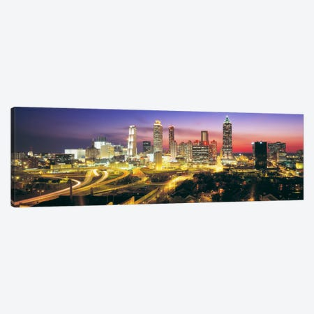 SkylineEvening, Dusk, Illuminated, Atlanta, Georgia, USA, Canvas Print #PIM646} by Panoramic Images Art Print