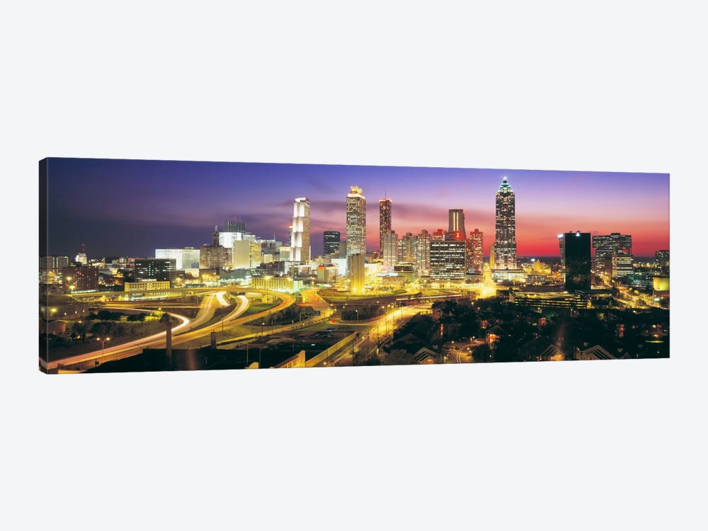 SkylineEvening, Dusk, Illuminated, Atlanta, Georgia, USA, by Panoramic Images 1-piece Canvas Art