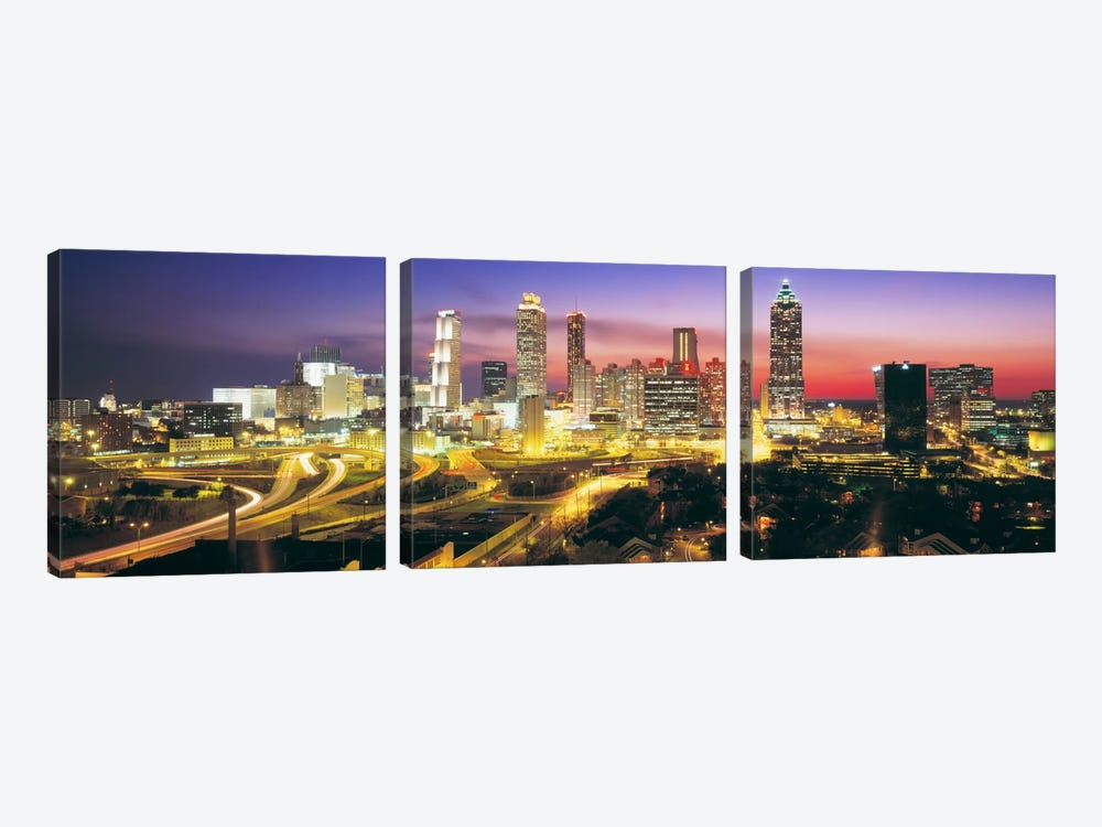 SkylineEvening, Dusk, Illuminated, Atlanta, Georgia, USA, by Panoramic Images 3-piece Canvas Art