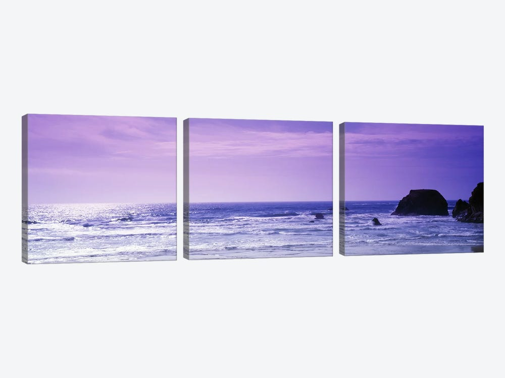 Seascape With A Violet Sky, Mendocino County, California, USA by Panoramic Images 3-piece Canvas Print