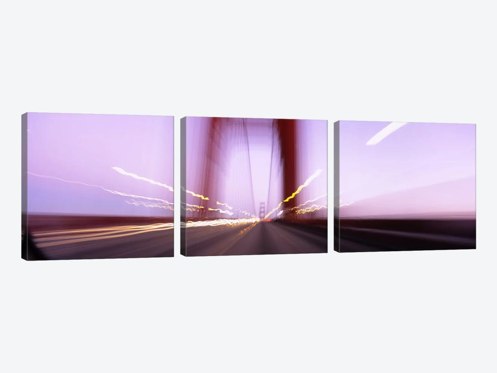 Traffic on a suspension bridge, Golden Gate Bridge, San Francisco, California, USA by Panoramic Images 3-piece Canvas Wall Art