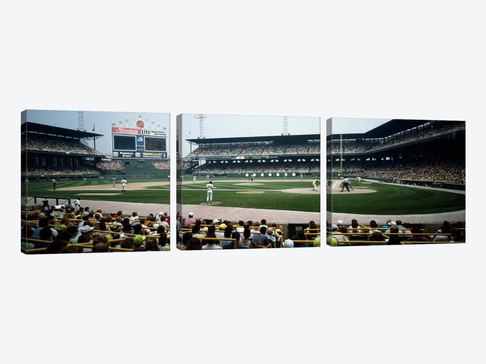 Spectators watching a baseball match in a stadiumU.S. Cellular Field, Chicago, Cook County, Illinois, USA by Panoramic Images 3-piece Canvas Print