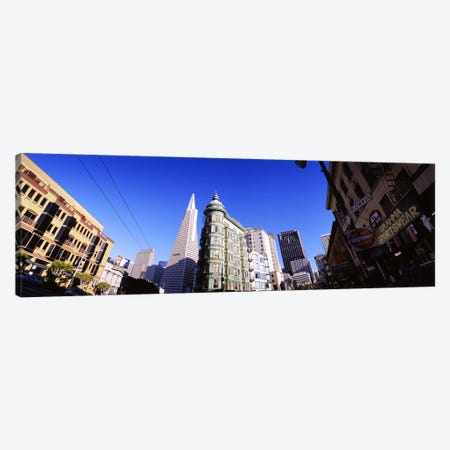 Low angle view of buildings in a city, Columbus Avenue, San Francisco, California, USA Canvas Print #PIM6480} by Panoramic Images Canvas Artwork