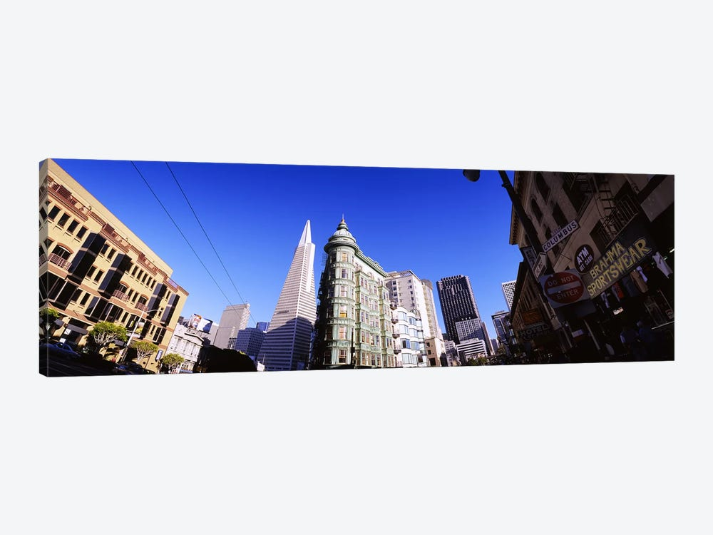 Low angle view of buildings in a city, Columbus Avenue, San Francisco, California, USA by Panoramic Images 1-piece Art Print