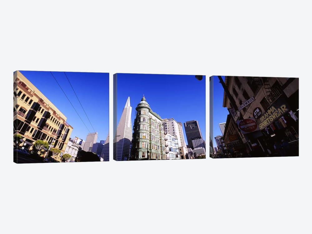 Low angle view of buildings in a city, Columbus Avenue, San Francisco, California, USA by Panoramic Images 3-piece Canvas Art Print