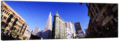 Low angle view of buildings in a city, Columbus Avenue, San Francisco, California, USA Canvas Art Print