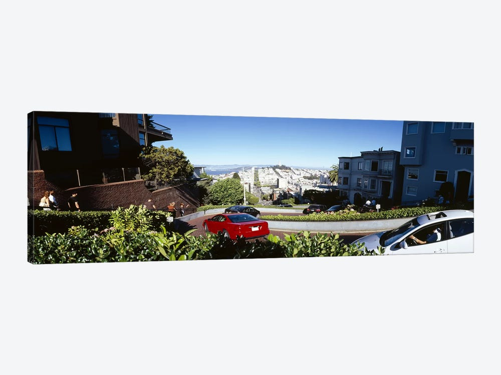 Cars on a street, Lombard Street, San Francisco, California, USA by Panoramic Images 1-piece Canvas Wall Art