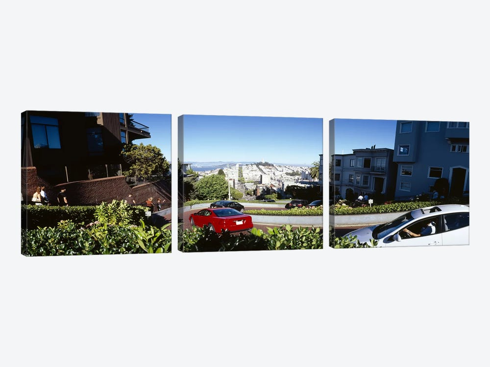 Cars on a street, Lombard Street, San Francisco, California, USA by Panoramic Images 3-piece Canvas Art