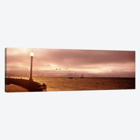 Sailboats in the sea, San Francisco Bay, Golden Gate Bridge, San Francisco, California, USA Canvas Print #PIM6487} by Panoramic Images Art Print