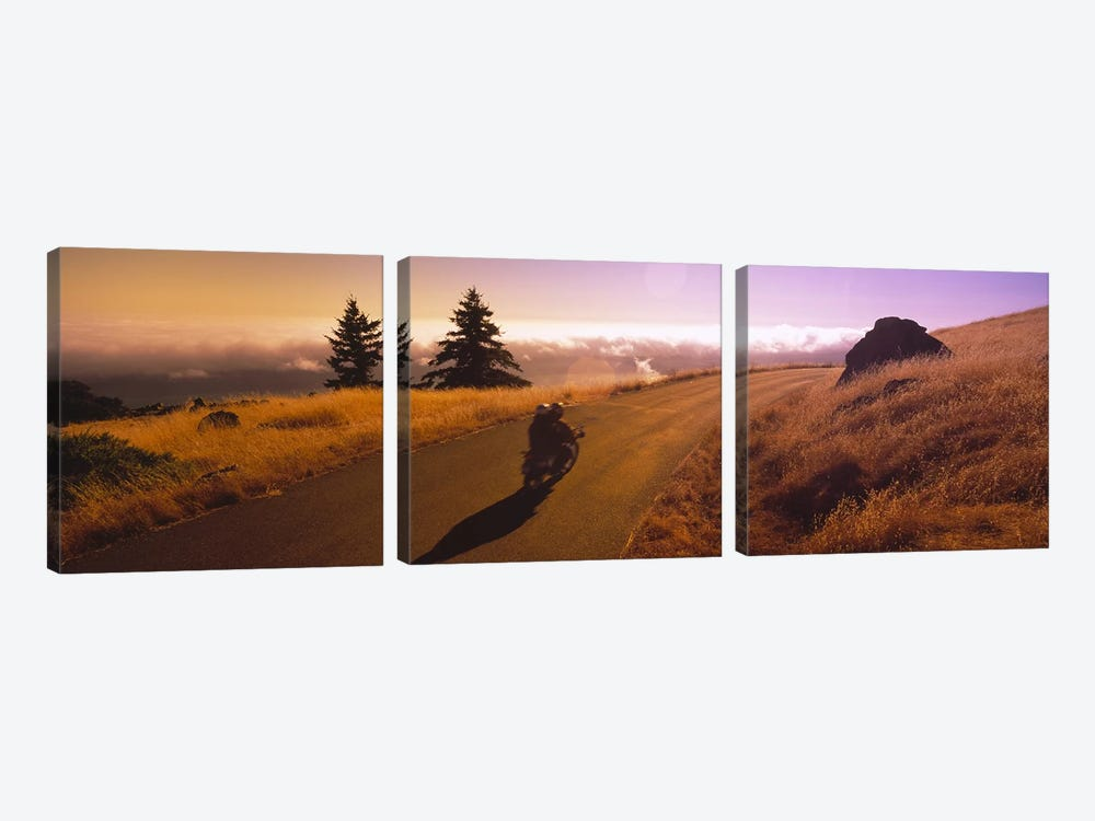 Motorcycle On Mount Tamalpais, Marin County, California, USA by Panoramic Images 3-piece Canvas Print