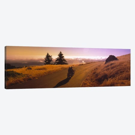 Motorcycle On Mount Tamalpais, Marin County, California, USA 3-Piece Canvas #PIM6488} by Panoramic Images Canvas Artwork