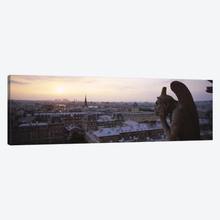 Chimera sculpture with a cityscape in the backgroundGalerie Des Chimeres, Notre Dame, Paris, Ile-De-France, France Canvas Print #PIM6489} by Panoramic Images Canvas Art