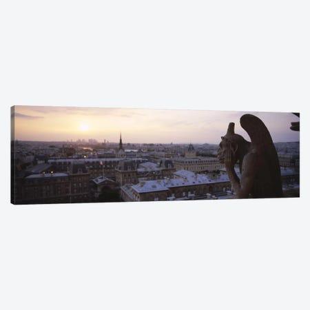 Chimera sculpture with a cityscape in the backgroundGalerie Des Chimeres, Notre Dame, Paris, Ile-De-France, France Canvas Print #PIM6489} by Panoramic Images Canvas Art