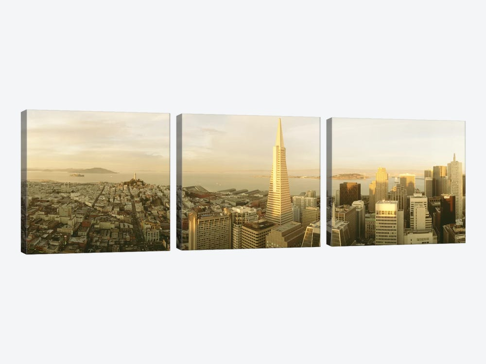 Aerial View (ft. Transamerica Pyramid), San Francisco, California, USA by Panoramic Images 3-piece Canvas Art