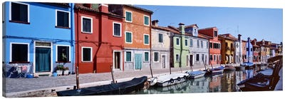 Houses at the waterfront, Burano, Venetian Lagoon, Venice, Italy Canvas Art Print