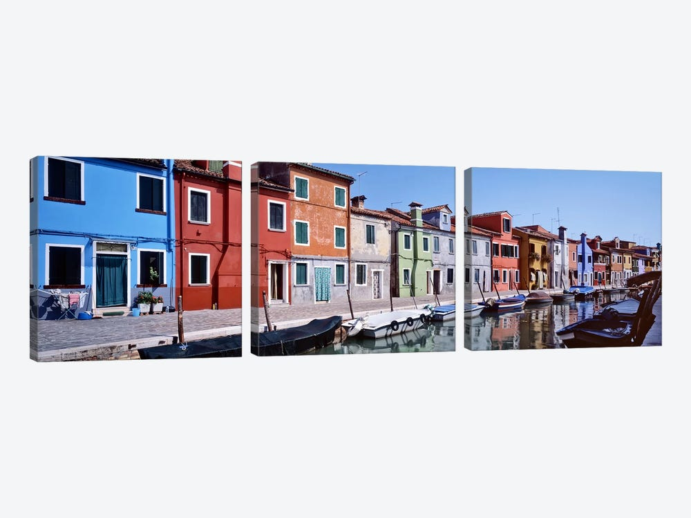 Houses at the waterfront, Burano, Venetian Lagoon, Venice, Italy by Panoramic Images 3-piece Art Print