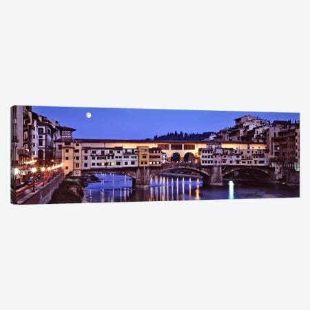 Ponte Vecchio At Night, Florence, Tuscany, Italy Canvas Print #PIM6492} by Panoramic Images Canvas Print