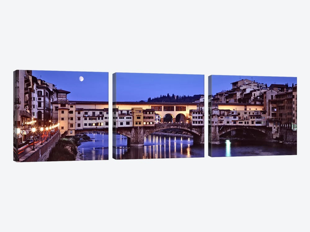 Ponte Vecchio At Night, Florence, Tuscany, Italy by Panoramic Images 3-piece Canvas Wall Art