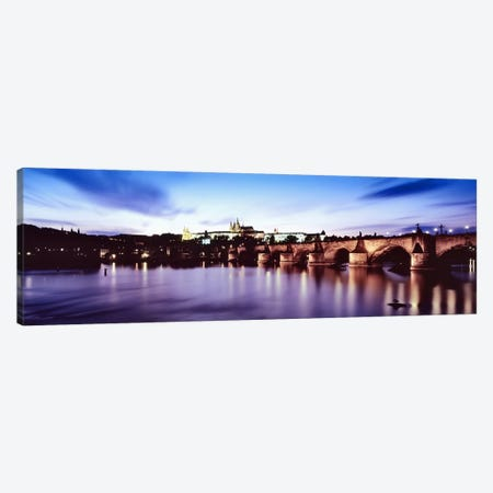 Dusk's Reflection In The Vltava River, Prague, Czech Republic Canvas Print #PIM6495} by Panoramic Images Canvas Wall Art