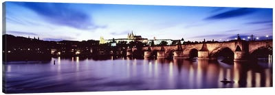 Arch bridge across a river with a cathedral in the backgroundSt. Vitus Cathedral, Hradcany Castle, Vltava river, Prague, Czech Republic Canvas Print #PIM6495