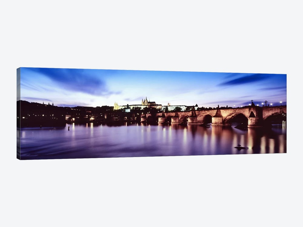 Dusk's Reflection In The Vltava River, Prague, Czech Republic by Panoramic Images 1-piece Canvas Art Print