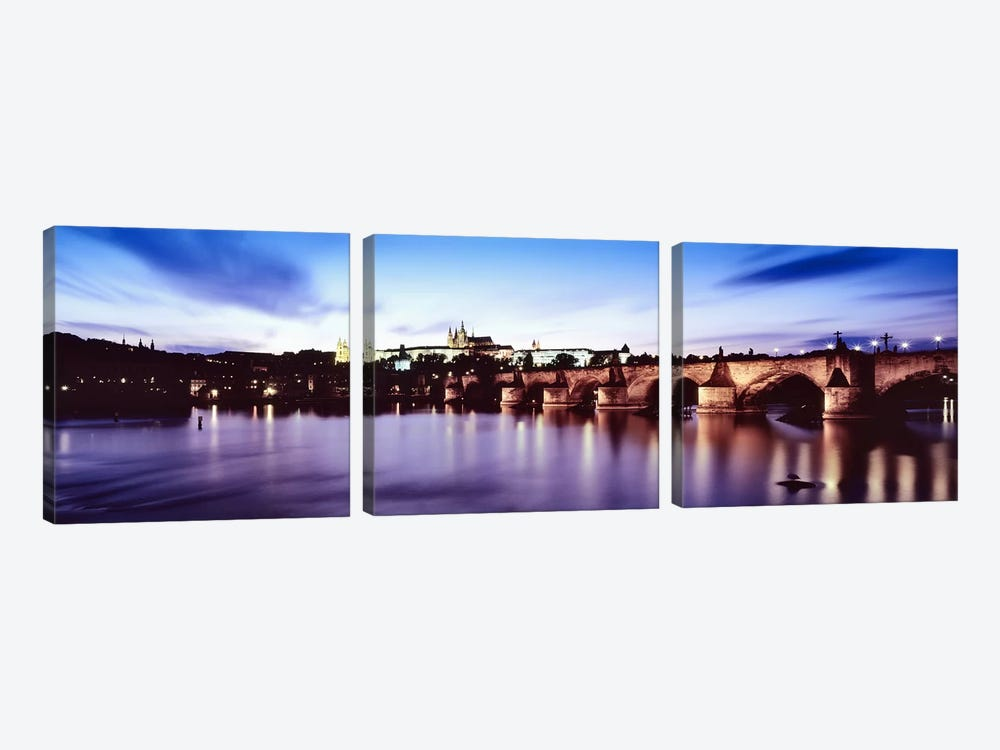 Dusk's Reflection In The Vltava River, Prague, Czech Republic by Panoramic Images 3-piece Canvas Print