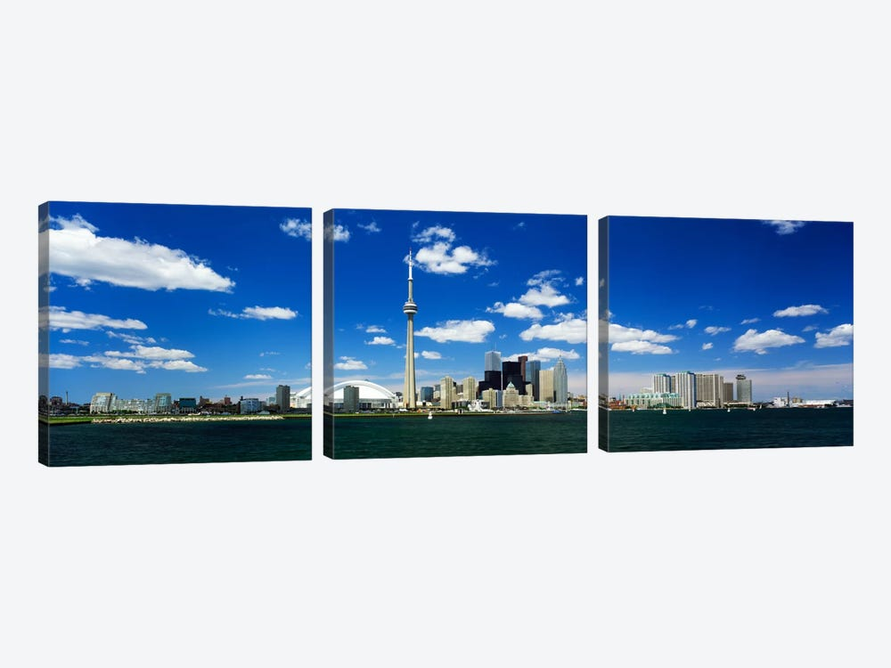Dowtown Skyline As Seen From Lake Ontario, Toronto, Ontario, Canada by Panoramic Images 3-piece Canvas Art