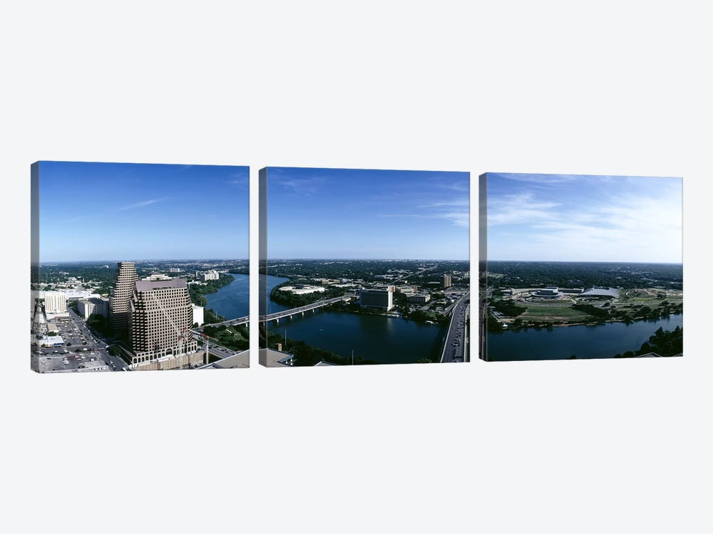 High angle view of a river passing through a cityAustin, Texas, USA by Panoramic Images 3-piece Canvas Wall Art