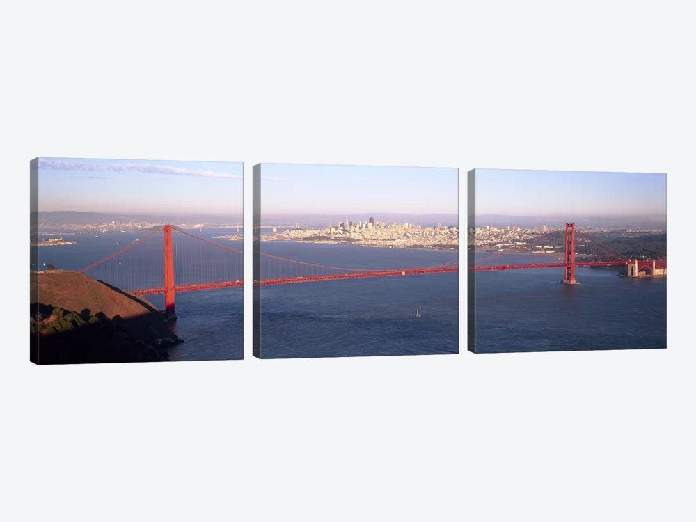 High angle view of a suspension bridge across the seaGolden Gate Bridge, San Francisco, Marin County, California, USA by Panoramic Images 3-piece Canvas Art