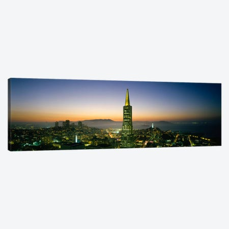 Buildings lit up at duskTransamerica Pyramid, San Francisco, California, USA Canvas Print #PIM650} by Panoramic Images Canvas Art Print