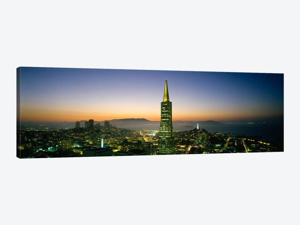 Buildings lit up at duskTransamerica Pyramid, San Francisco, California, USA by Panoramic Images 1-piece Canvas Art Print