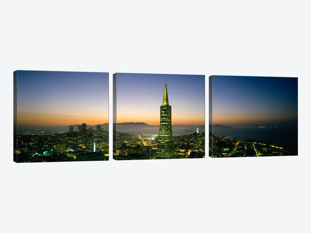 Buildings lit up at duskTransamerica Pyramid, San Francisco, California, USA by Panoramic Images 3-piece Art Print