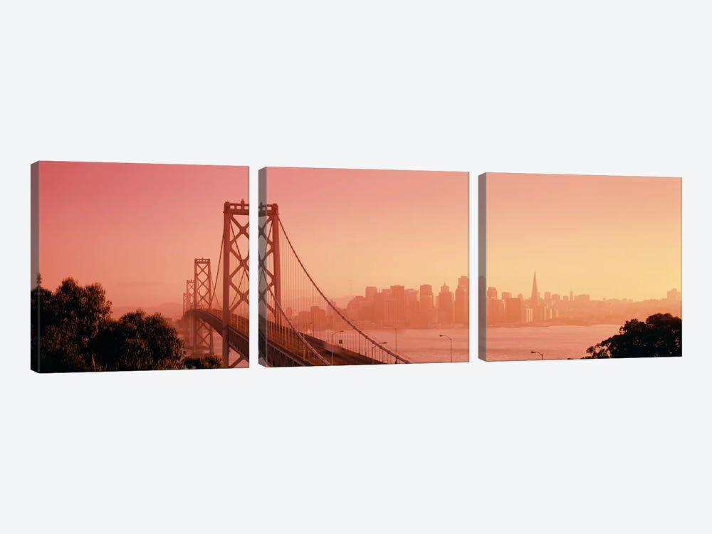 Bay BridgeSkyline, City, San Francisco, California, USA by Panoramic Images 3-piece Canvas Wall Art