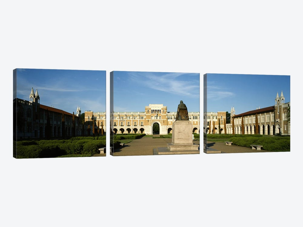 Statue in the courtyard of an educational buildingRice University, Houston, Texas, USA by Panoramic Images 3-piece Canvas Art Print