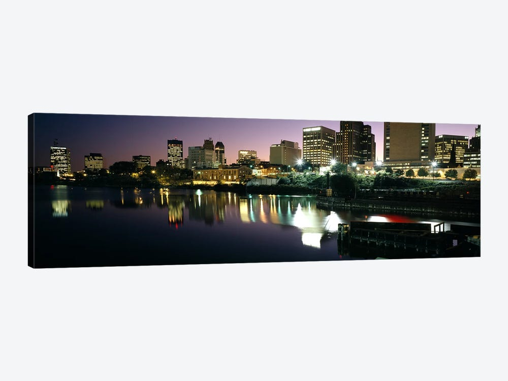 City lit up at nightNewark, New Jersey, USA by Panoramic Images 1-piece Canvas Wall Art