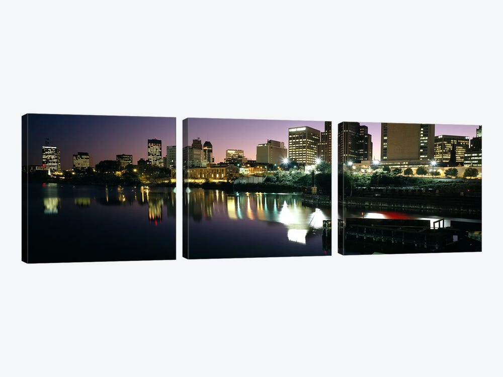 City lit up at nightNewark, New Jersey, USA by Panoramic Images 3-piece Canvas Artwork