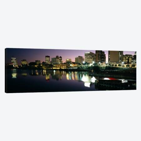 City lit up at nightNewark, New Jersey, USA Canvas Print #PIM6524} by Panoramic Images Canvas Artwork