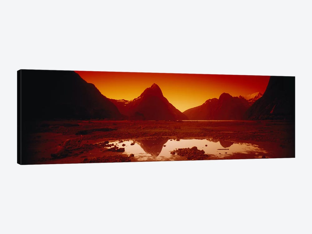 Orangish-Red Sunrise Over Mitre Peak And Milford Sound, South Island, New Zealand 1-piece Art Print
