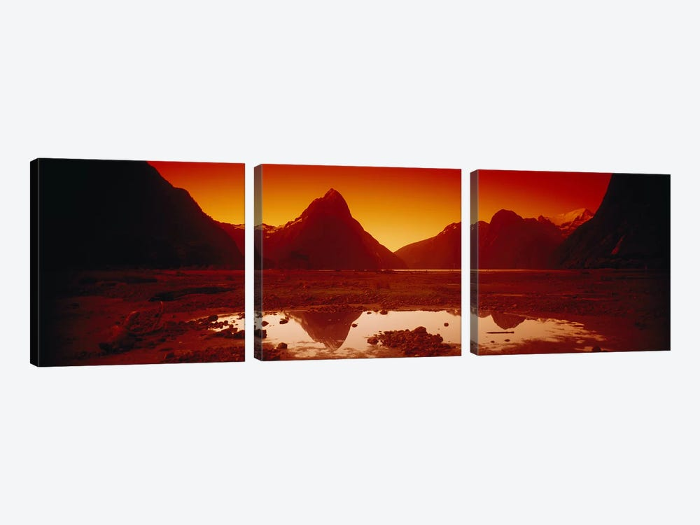 Orangish-Red Sunrise Over Mitre Peak And Milford Sound, South Island, New Zealand 3-piece Canvas Art Print