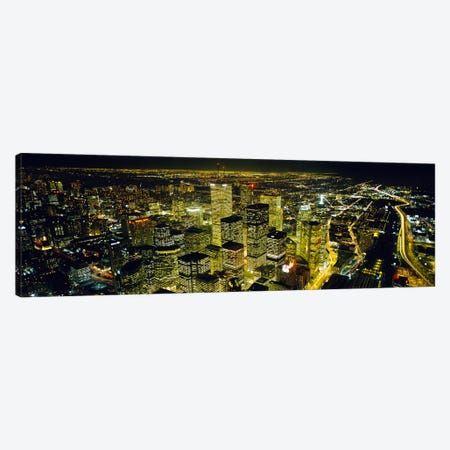 Nighttime View Of The Financial District From CN Tower, Toronto, Ontario, Canada Canvas Print #PIM6530} by Panoramic Images Canvas Art