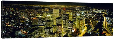 Nighttime View Of The Financial District From CN Tower, Toronto, Ontario, Canada Canvas Art Print