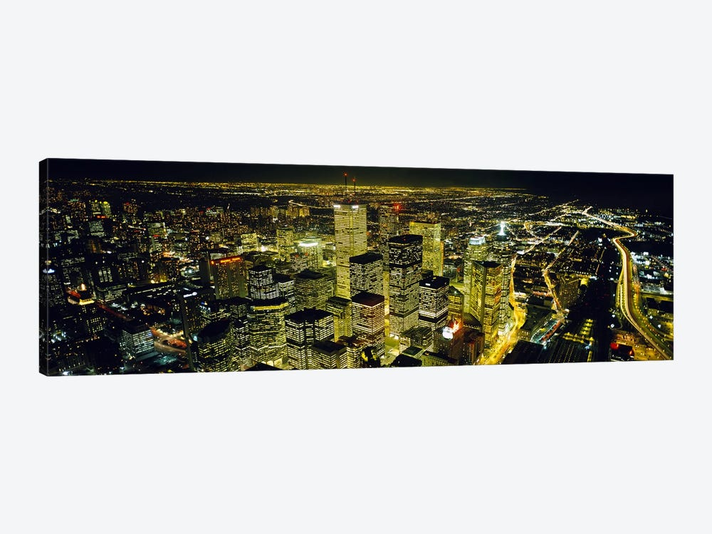 Nighttime View Of The Financial District From CN Tower, Toronto, Ontario, Canada by Panoramic Images 1-piece Art Print
