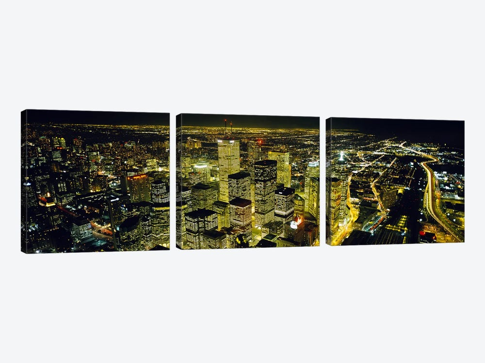 Nighttime View Of The Financial District From CN Tower, Toronto, Ontario, Canada by Panoramic Images 3-piece Canvas Print
